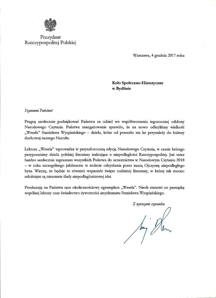 List Prezydenta, podziękowanie