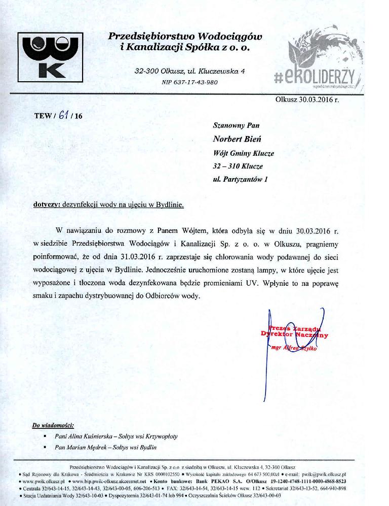 Komunikat PWiK 01.04.2016